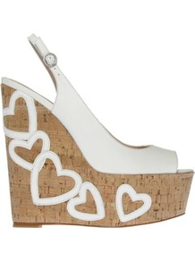 Nuovo Leather Wedges - predominant colour: white; occasions: casual, evening, holiday; material: leather; heel: wedge; toe: open toe/peeptoe; style: standard; finish: plain; pattern: plain; heel height: very high