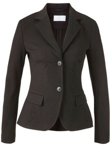 Jersey Blazer - pattern: plain; style: single breasted blazer; collar: standard lapel/rever collar; predominant colour: black; occasions: casual, evening, work; length: standard; fit: tailored/fitted; fibres: viscose/rayon - stretch; sleeve length: long sleeve; sleeve style: standard; texture group: cotton feel fabrics; collar break: medium; pattern type: fabric