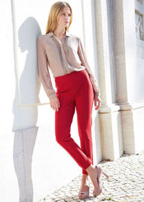 Jersey Trousers - pattern: plain; waist detail: wide waistband/cummerbund; waist: mid/regular rise; predominant colour: true red; occasions: evening, work, holiday; length: ankle length; fibres: viscose/rayon - stretch; fit: slim leg; pattern type: fabric; texture group: jersey - stretchy/drapey; style: standard