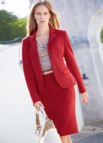 Jersey Skirt - pattern: plain; style: pencil; fit: tailored/fitted; waist: high rise; waist detail: belted waist/tie at waist/drawstring; predominant colour: true red; occasions: evening, work; length: on the knee; fibres: viscose/rayon - stretch; pattern type: fabric; texture group: jersey - stretchy/drapey