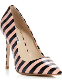 Benefit Stripey Patent Court Shoes, Apricot - secondary colour: blush; predominant colour: black; occasions: evening, work, occasion; material: faux leather; heel height: high; heel: stiletto; toe: pointed toe; style: courts; trends: striking stripes; finish: plain; pattern: horizontal stripes