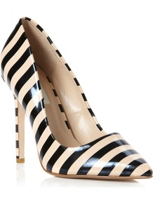 Benefit Stripey Patent Court Shoes, Blonde - secondary colour: nude; predominant colour: black; occasions: evening, work, occasion; material: faux leather; heel height: mid; heel: stiletto; toe: pointed toe; style: courts; trends: striking stripes; finish: patent; pattern: horizontal stripes