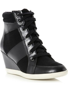 Lapin Square Toe Stud Wedge Shoes, Black - predominant colour: black; occasions: casual; material: faux leather; heel height: high; heel: wedge; toe: round toe; boot length: ankle boot; style: high top; trends: sporty redux; finish: plain; pattern: plain