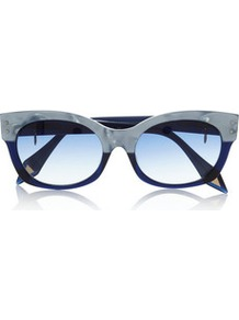 Cat Eye Two Tone Acetate Sunglasses - predominant colour: navy; occasions: casual; style: cateye; size: standard; material: plastic/rubber; pattern: plain, two-tone; finish: plain