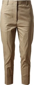 Tapered Cotton Trousers - pattern: plain; style: capri; waist: high rise; predominant colour: camel; occasions: casual, work; length: calf length; fibres: cotton - stretch; texture group: cotton feel fabrics; fit: tapered; pattern type: fabric