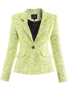Snake Textured Jacket - style: single breasted blazer; collar: standard lapel/rever collar; predominant colour: lime; occasions: evening, work, occasion; length: standard; fit: tailored/fitted; fibres: polyester/polyamide - mix; sleeve length: long sleeve; sleeve style: standard; collar break: medium; pattern type: fabric; pattern size: small & busy; pattern: animal print; texture group: woven light midweight