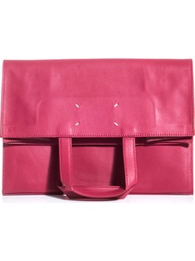 Leather Paper Bag - predominant colour: hot pink; occasions: casual, evening, work; style: clutch; length: hand carry; size: standard; material: leather; pattern: plain; finish: plain