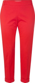 Sundry Cotton Trousers - pattern: plain; style: peg leg; waist: mid/regular rise; predominant colour: true red; occasions: casual; length: ankle length; fibres: cotton - stretch; jeans & bottoms detail: turn ups; texture group: cotton feel fabrics; fit: tapered; pattern type: fabric