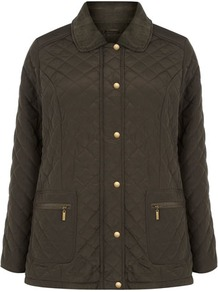 Khaki Quilted Jacket - pattern: plain; length: standard; hip detail: side pockets at hip, front pockets at hip; style: quilted; predominant colour: khaki; occasions: casual, work; fit: straight cut (boxy); fibres: polyester/polyamide - 100%; collar: shirt collar/peter pan/zip with opening; sleeve length: long sleeve; sleeve style: standard; collar break: high; pattern type: fabric; texture group: other - light to midweight
