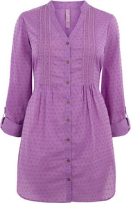 Pink Dobby Spot Shirt - waist detail: fitted waist; length: below the bottom; style: shirt; pattern: polka dot, patterned/print; bust detail: ruching/gathering/draping/layers/pintuck pleats at bust; predominant colour: lilac; occasions: casual; neckline: mandarin with v-neck; fibres: cotton - 100%; fit: straight cut; hip detail: sculpting darts/pleats/seams at hip; sleeve length: 3/4 length; sleeve style: standard; texture group: cotton feel fabrics; pattern type: fabric; pattern size: big &amp; light