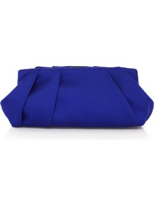 Geneva Clutch - predominant colour: royal blue; occasions: evening, occasion; type of pattern: standard; style: clutch; length: hand carry; size: small; material: satin; embellishment: pleated; pattern: plain; finish: plain