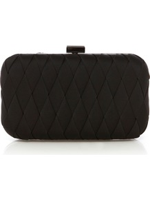 Parker Clutch - predominant colour: black; occasions: evening, occasion; type of pattern: standard; style: clutch; length: hand carry; size: mini; material: satin; pattern: plain; finish: plain; embellishment: chain/metal
