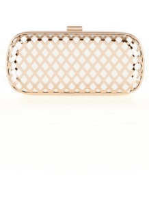 Koco Bag - secondary colour: ivory; predominant colour: gold; occasions: evening, occasion; type of pattern: light; style: clutch; length: hand carry; size: mini; material: satin; pattern: plain; finish: metallic; embellishment: chain/metal