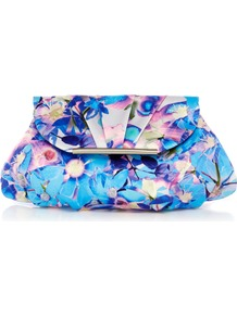 Milan Print Clutch - predominant colour: turquoise; occasions: evening, occasion; type of pattern: heavy; style: clutch; length: hand carry; material: fabric; pattern: florals; trends: high impact florals; finish: plain
