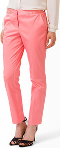 Studded Waist Straight Trousers - waist: mid/regular rise; predominant colour: pink; secondary colour: pink; occasions: casual, evening, work, holiday; length: ankle length; fibres: cotton - stretch; fit: straight leg; pattern type: fabric; pattern: patterned/print; texture group: other - light to midweight; style: standard