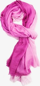 Frayed Ombré Scarf - secondary colour: blush; predominant colour: hot pink; occasions: casual, work, holiday; type of pattern: standard; style: regular; size: standard; material: fabric; pattern: colourblock