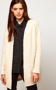 Cardigan In Bobble Texture - pattern: plain; neckline: collarless open; style: open front; predominant colour: ivory; occasions: casual; fibres: cotton - mix; fit: loose; length: mid thigh; sleeve length: long sleeve; sleeve style: standard; texture group: knits/crochet; pattern type: knitted - other