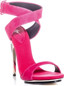 Metal Heel Sandals - predominant colour: hot pink; occasions: evening, occasion; material: suede; embellishment: buckles; ankle detail: ankle strap; heel: stiletto; toe: open toe/peeptoe; style: standard; finish: plain; pattern: plain; heel height: very high