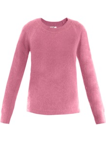 Micah Angora Sweater - neckline: round neck; pattern: plain; style: standard; predominant colour: pink; occasions: casual, evening, work; length: standard; fibres: wool - mix; fit: standard fit; sleeve length: long sleeve; sleeve style: standard; texture group: knits/crochet; pattern type: knitted - other