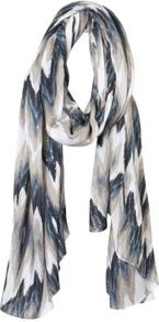 Navy And Cream Ikat Heavyweight Scarf - secondary colour: ivory; predominant colour: navy; occasions: casual, work, holiday; type of pattern: standard; style: regular; size: standard; material: fabric; embellishment: sequins; pattern: patterned/print