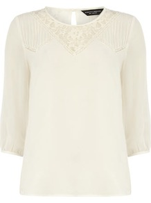 Ivory Lace V Top - neckline: round neck; bust detail: sheer at bust, contrast pattern/fabric/detail at bust; style: blouse; shoulder detail: contrast pattern/fabric at shoulder; predominant colour: ivory; occasions: casual, evening, work, holiday; length: standard; fibres: polyester/polyamide - 100%; fit: straight cut; back detail: keyhole/peephole detail at back; sleeve length: 3/4 length; sleeve style: standard; texture group: sheer fabrics/chiffon/organza etc.; pattern type: fabric; pattern size: small &amp; light; embellishment: embroidered