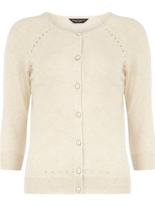 Oat Pointelle Cotton Cardigan - neckline: round neck; pattern: plain; hip detail: fitted at hip; predominant colour: ivory; occasions: casual, work; length: standard; style: standard; fibres: cotton - mix; fit: slim fit; waist detail: fitted waist; sleeve length: 3/4 length; sleeve style: standard; texture group: knits/crochet; pattern type: knitted - fine stitch