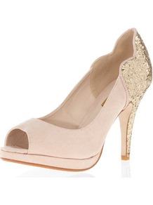 Glitter Mid Heel Peep Courts - predominant colour: nude; occasions: evening, occasion; material: fabric; heel height: high; embellishment: glitter; heel: platform; toe: open toe/peeptoe; style: courts; trends: metallics; finish: plain; pattern: plain