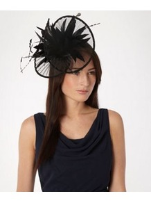 Black Pleated Twist Burst Band Fascinator - predominant colour: black; occasions: occasion; style: fascinator; size: standard; material: fabric; embellishment: feather; pattern: plain