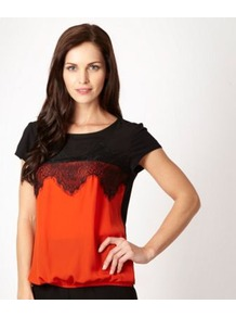 Dark Orange Scalloped Lace Colour Block Top - neckline: round neck; pattern: plain; back detail: contrast pattern/fabric at back; predominant colour: bright orange; secondary colour: black; occasions: casual, evening; length: standard; style: top; fibres: polyester/polyamide - 100%; fit: body skimming; bust detail: contrast pattern/fabric/detail at bust; sleeve length: short sleeve; sleeve style: standard; pattern type: fabric; pattern size: standard; texture group: jersey - stretchy/drapey; embellishment: lace