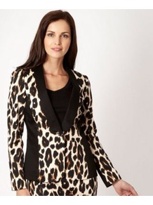 Black Animal Print Blazer - style: single breasted blazer; collar: shawl/waterfall; secondary colour: white; predominant colour: black; occasions: evening, occasion; length: standard; fit: tailored/fitted; fibres: cotton - stretch; sleeve length: long sleeve; sleeve style: standard; texture group: crepes; trends: statement prints, tuxedo; collar break: low/open; pattern type: fabric; pattern size: big &amp; busy; pattern: animal print
