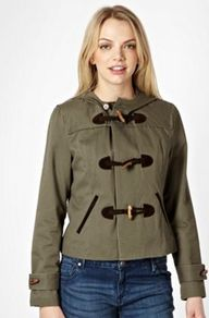 Khaki Boxy Duffle Jacket - pattern: plain; length: standard; back detail: hood; hip detail: front pockets at hip; collar: high neck; style: duffle coat; predominant colour: khaki; occasions: casual, work; fit: straight cut (boxy); fibres: cotton - mix; sleeve length: long sleeve; sleeve style: standard; collar break: high/illusion of break when open; pattern type: fabric; pattern size: standard; texture group: other - bulky/heavy