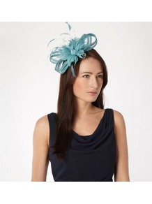 Turquoise Beaded Feather Flower Fascinator - predominant colour: turquoise; occasions: evening, occasion; type of pattern: standard; style: fascinator; size: standard; material: macrame/raffia/straw; embellishment: feather; pattern: plain