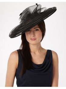 Black Mesh Circle Saucer Fascinator - predominant colour: black; occasions: evening, occasion; type of pattern: standard; style: wide brimmed; size: large; material: fabric; pattern: plain