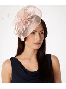 Mid Rose Mesh Flower Fascinator - predominant colour: blush; occasions: evening, occasion; type of pattern: standard; style: fascinator; size: standard; material: sinamay; embellishment: feather; pattern: plain