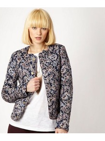 Navy Printed Quilted Jacket - collar: round collar/collarless; pattern: paisley, florals, patterned/print; style: boxy; predominant colour: navy; occasions: casual, evening, work, occasion; length: standard; fit: straight cut (boxy); fibres: cotton - 100%; sleeve length: long sleeve; sleeve style: standard; trends: statement prints; collar break: high; pattern type: fabric; pattern size: small &amp; busy; texture group: brocade/jacquard