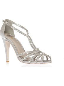 Pippa - predominant colour: silver; occasions: evening, occasion; material: satin; heel height: high; embellishment: crystals; ankle detail: ankle strap; heel: stiletto; toe: open toe/peeptoe; style: strappy; finish: metallic; pattern: plain