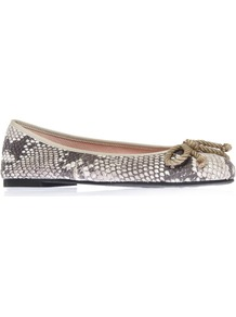 Ami - predominant colour: mid grey; occasions: casual, evening, work, holiday; material: leather; heel height: flat; toe: round toe; style: ballerinas / pumps; finish: plain; pattern: animal print; embellishment: bow