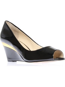 Shockmode3 - predominant colour: black; occasions: casual, evening, work; material: leather; heel height: high; heel: wedge; toe: open toe/peeptoe; style: courts; finish: patent; pattern: plain