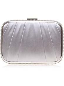 Ophelia - predominant colour: light grey; occasions: evening, occasion; type of pattern: light; style: clutch; length: hand carry; size: mini; material: satin; embellishment: crystals; pattern: plain; trends: metallics; finish: metallic