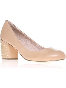 Carrine - predominant colour: nude; occasions: casual, work; material: leather; heel height: mid; embellishment: studs; heel: block; toe: round toe; style: courts; finish: plain; pattern: plain