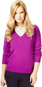 Cashmilon V Neck Jumper - neckline: v-neck; pattern: plain; style: standard; predominant colour: magenta; occasions: casual, work; length: standard; fibres: acrylic - 100%; fit: standard fit; sleeve length: long sleeve; sleeve style: standard; texture group: knits/crochet; pattern type: knitted - fine stitch; pattern size: standard
