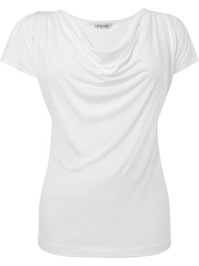 Women's Mandi Jersey Top, Champagne - neckline: cowl/draped neck; sleeve style: capped; pattern: plain; hip detail: fitted at hip; bust detail: ruching/gathering/draping/layers/pintuck pleats at bust, tiers/frills/bulky drapes/pleats; predominant colour: white; occasions: casual, work; length: standard; style: top; fibres: polyester/polyamide - 100%; fit: body skimming; shoulder detail: flat/draping pleats/ruching/gathering at shoulder; sleeve length: short sleeve; pattern type: fabric; pattern size: standard; texture group: jersey - stretchy/drapey