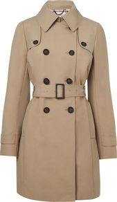 Women's Trench Coat, Brown - pattern: plain; style: trench coat; fit: slim fit; predominant colour: camel; occasions: casual, evening, work; fibres: cotton - 100%; length: below the knee; collar: shirt collar/peter pan/zip with opening; back detail: back vent/flap at back; sleeve length: long sleeve; sleeve style: standard; collar break: high/illusion of break when open; pattern type: fabric; pattern size: standard; texture group: other - light to midweight