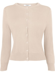 Women&#x27;s Betty Cardigan, Champagne - neckline: round neck; pattern: plain; bust detail: buttons at bust (in middle at breastbone)/zip detail at bust; predominant colour: blush; occasions: casual, work; length: standard; style: standard; fibres: silk - mix; fit: slim fit; waist detail: fitted waist; sleeve length: 3/4 length; sleeve style: standard; texture group: knits/crochet; pattern type: knitted - other; pattern size: standard