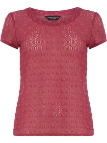 Plum Textured Lace Tee - neckline: round neck; pattern: plain; style: t-shirt; predominant colour: burgundy; occasions: casual; length: standard; fibres: polyester/polyamide - stretch; fit: straight cut; sleeve length: short sleeve; sleeve style: standard; texture group: lace; pattern type: fabric; pattern size: small & busy