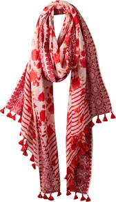 Floral Striped Scarf, Scarlet - predominant colour: true red; occasions: casual, evening, work; type of pattern: heavy; style: regular; size: large; material: fabric; embellishment: tassels; pattern: florals, horizontal stripes, patterned/print; trends: statement prints