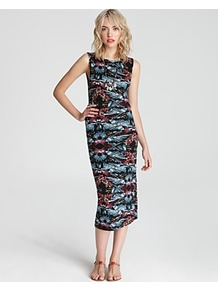 Dress Love From London - style: shift; length: calf length; sleeve style: sleeveless; waist detail: fitted waist; hip detail: fitted at hip; predominant colour: black; occasions: casual, evening, work; fit: body skimming; fibres: polyester/polyamide - stretch; neckline: crew; sleeve length: sleeveless; trends: statement prints, glamorous day shifts; pattern type: fabric; pattern size: big & busy; pattern: patterned/print; texture group: jersey - stretchy/drapey