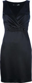 Bow Detail Fitted Dress - style: faux wrap/wrap; neckline: low v-neck; fit: tailored/fitted; pattern: plain; sleeve style: sleeveless; waist detail: fitted waist, embellishment at waist/feature waistband; hip detail: fitted at hip; bust detail: ruching/gathering/draping/layers/pintuck pleats at bust; predominant colour: black; occasions: evening, occasion; length: just above the knee; fibres: polyester/polyamide - 100%; sleeve length: sleeveless; texture group: structured shiny - satin/tafetta/silk etc.; pattern type: fabric