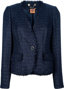 Tweed Blazer - style: single breasted blazer; hip detail: side pockets at hip; collar: standard lapel/rever collar; pattern: herringbone/tweed, patterned/print; predominant colour: navy; occasions: casual, evening, work; length: standard; fit: tailored/fitted; fibres: acrylic - mix; waist detail: fitted waist; sleeve length: long sleeve; sleeve style: standard; trends: metallics; collar break: medium; pattern type: knitted - other; texture group: tweed - light/midweight