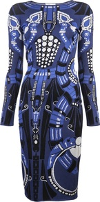 Intarsia Dress - neckline: round neck; fit: tight; style: bodycon; hip detail: fitted at hip; predominant colour: royal blue; occasions: casual, evening, occasion; length: on the knee; fibres: nylon - mix; sleeve length: long sleeve; sleeve style: standard; texture group: jersey - clingy; trends: statement prints; pattern type: fabric; pattern size: big & busy; pattern: patterned/print